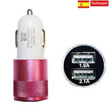 Cargador Mechero Coche Para Iphone 7 Plus Calidad 3.1a 2 Puertos Rosa