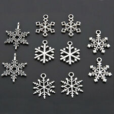 50pcs DIY Random Mixed Snowflake Xmas Charms Tibetan Silver Snow Flake Pendants