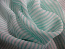 "Tiny Stripe Nylon Organdy~Aqua/White~19 4;x60""~Doll Fabric~Sheer~Slinky"