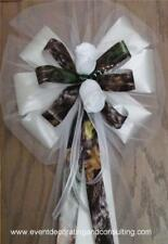 6 WHITE ROSES MOSSY OAK BREAK UP Pew Bows for Occasions