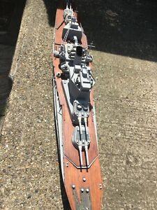 REMOTE CONTROL SHIP HMS WARSPITE VINTAGE MODEL ROYAL NAVY OVER 6 FOOT LONG