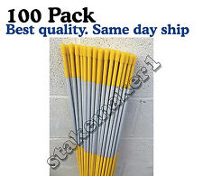 100 Pack 48'' Long Reflective Driveway Markers Snow Plow Stakes Snow Pole Yellow
