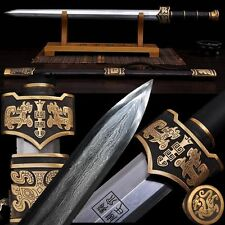 """Boutique Hand Forged Chinese Sword """"Yue Wang Sword (劍) Pattern Steel Sharp Blade"""