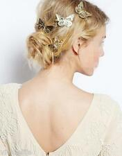2pc AU Stock Gold Hair Clip Barrette Pin Wedding Bride Head Decor Photo Prop