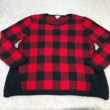 J. Jill Women's PM M Petite Black Red Buffalo Plaid Pull Over Sweater