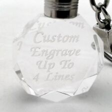 Custom Engraved Round Crystal Key Chain - Up to 4 Lines - Light Changes Colors