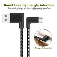 3m Braided L Shaped Micro USB 90° Angled Fast Data Sync Charge Charging Cable