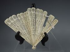 Fine Old India Indian Carved & Pierced Decor Bovine Bone Fan ca. early 20th c