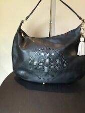 TORY BURCH BLACK PEBBLED LEATHER SATCHEL/TOTE PERFORATED LOGO ON FRONT TASSEL
