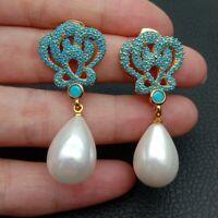 Teardrop White Sea Shell Pearl Gold Plated Turquoise Blue Cz Drop Stud Earrings