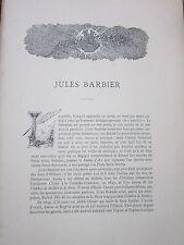 Jules Barbier - Autographe et Portraits gravés sur bois - 1896