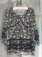 NEW Plus Size 1X Black Pink Floral Blouse Ruffle Bell Sleeve Shirt Top $59