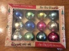 VINTAGE Box Of 12 Christmas Feather Tree Glass Ornaments Japan Original Box