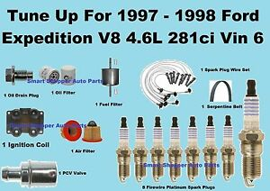Tune Up Kit for 1997 1998 Ford Expedition Vin6 Spark Plug Wire Set, Belt, Filter