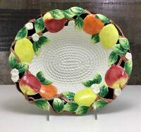 "Fitz & Floyd ~ ""Mediterranean Fruit"" 🍎 🍊 🍋 ~ Oval Serving Bowl ~ RARE!"