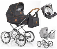 Roan Sofia 3in1 classic stroller carrycot pram puschair car seat adapters