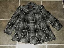 LADIES MISS SELFRIDGE GREY BLACK WHITE CHECK SHORT JACKET UK 8 EUR 36