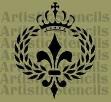 STENCIL French Laurel Wreath Fleur de lis w/Crown No 3  10x8.3 FREE US SHIPPING