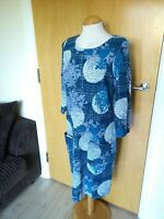 Ladies WHITE STUFF Dress Size 10 Blue Textured Smart Casual Day Party
