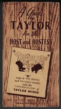 Taylor Wine Company / WINE COCKTAILS Guide by Taylor for the Host 1st ed 1950
