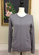 Womens Coupe Collection 100% Merino Wool Gray Sweater sz Medium Pockets