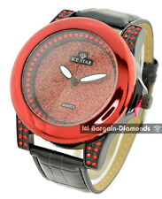 men's big heavy red bling dial business clubbing watch black strap