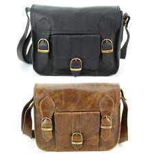 Leather Satchel Bag Shoulder Handbag Ladies Men BLACK BROWN Real Messenger