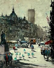 Landscape Painting Watercolour Original Belgium Cityscape Street Building 18x22