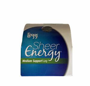 L'eggs Sheer Energy Pantyhose Medium Support Leg Off Black Size B New
