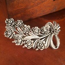Antique Stained Black Rose Bouquet Brooch Floral Celluloid Plastic Pin Flowers