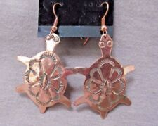 Native Navajo Copper Turtle Fetish Hook Earrings by Ed Abeyta Je0294