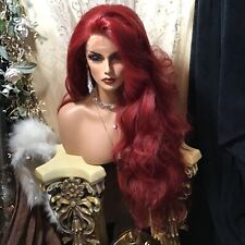 """BOLD RED 32"""" Human Hair Blend, SWISS LACE WITH MULTI STYLE THICK WAVY Wig!"""