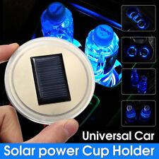 Car Solar Energy Power Cup Holder Bottom Pad Mat LED Light Mouldings Trim Blue