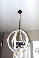 "New in Box Wood Metal Globe Orb Chandelier Distressed White Wash 22.5"" 6 light"