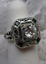 *Emerald* & White CZ Art Deco 1930s Solid Sterling Silver Filigree Ring Size 6