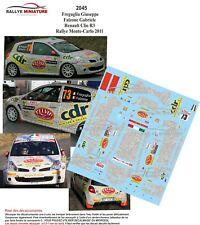 DECALS 1/43 REF 2045 RENAULT CLIO R3 Freguglia RALLYE MONTE CARLO 2011 IRC RALLY