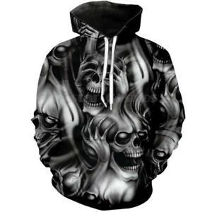 Schädel Totenkopf Skull 3D Kapuzen Sweatshirt Kapuzenpulli pulli Hoodie Pullover