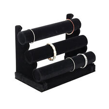 Plixio Jewelry Watch Bracelet Holder Display Stand 3-Bar Organizer  Black Velvet