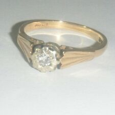 Antique / Vintage 9ct Gold & Diamond Solitaire Ring - 2.8g - No  Reserve