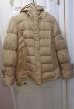 CALVIN KLEIN WOMAN'S FEATHER DOWN PUFFER HOOD JACKET SIZE L COLOR BEIGE