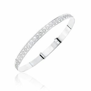 Sterling Silver Heart Pattern Expander Bangle Adult Size Silver Heart Bangle