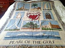 Vtg Bahrain Pearl of The Gulf Wall Hanging Fringed Cotton Throw Blanket 51 x 68""