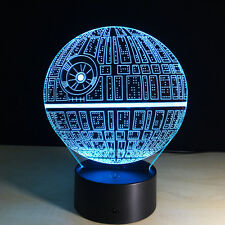 Night Light Lamp Acrylic 3D Christmas Star Wars Death Star Home Decoration New