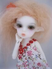 "WHITE dressed OOAK Tiny 5 1/2"" Nabiyette BJD dollhouse Fairy elf fur wig doll"