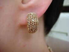 !NICE 14K YELLOW GOLD GENUINE GARNETS PAVE SMALL HUGGIE EARRINGS 3.9 GRAMS
