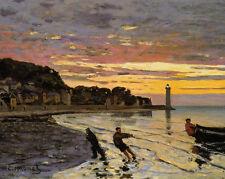 Claude Monet - Hauling a Boat Ashore, Honfleur Painting Fine Art Canvas Print