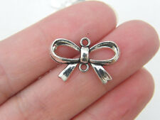 8 Bow connector charms antique silver tone CT135