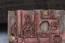 2x SMALL VINTAGE PRINTER BLOCKS OF A STICK FIGURE MAN BOARDING TRAIN & GOLFING