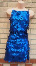 Mini Vestido motel Azul discoteca Lentejuelas Con Tiras Espalda descubierta Ceñido al cuerpo de fiesta Shift 8 10 S