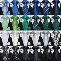 Black Men's Striped Tie Geometric Blue Neckties Set 100% Silk Green Paisley Ties